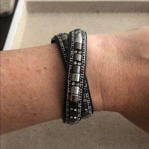 Stella & Dot Wrap Bracelet - Black and Gray